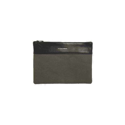 Pochette coton kaki cuir noir