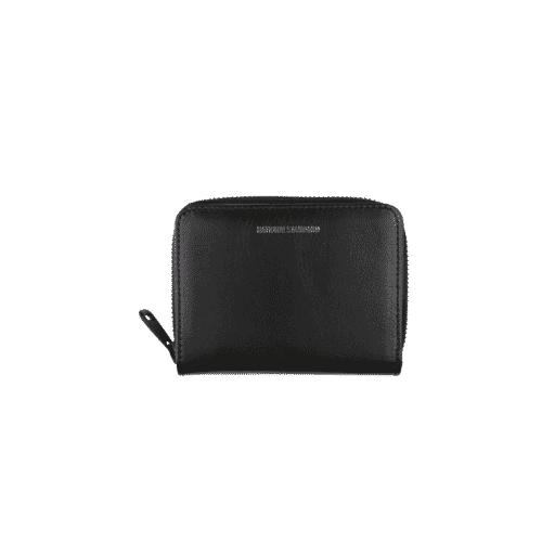 Portefeuille zippé cuir noir