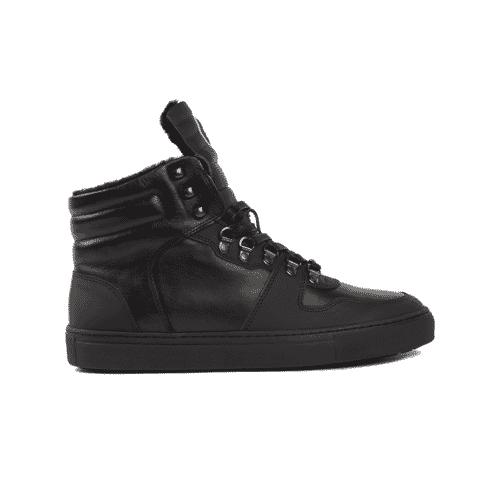 Edition 1 Fusalp khaki fur-lined high sneakers