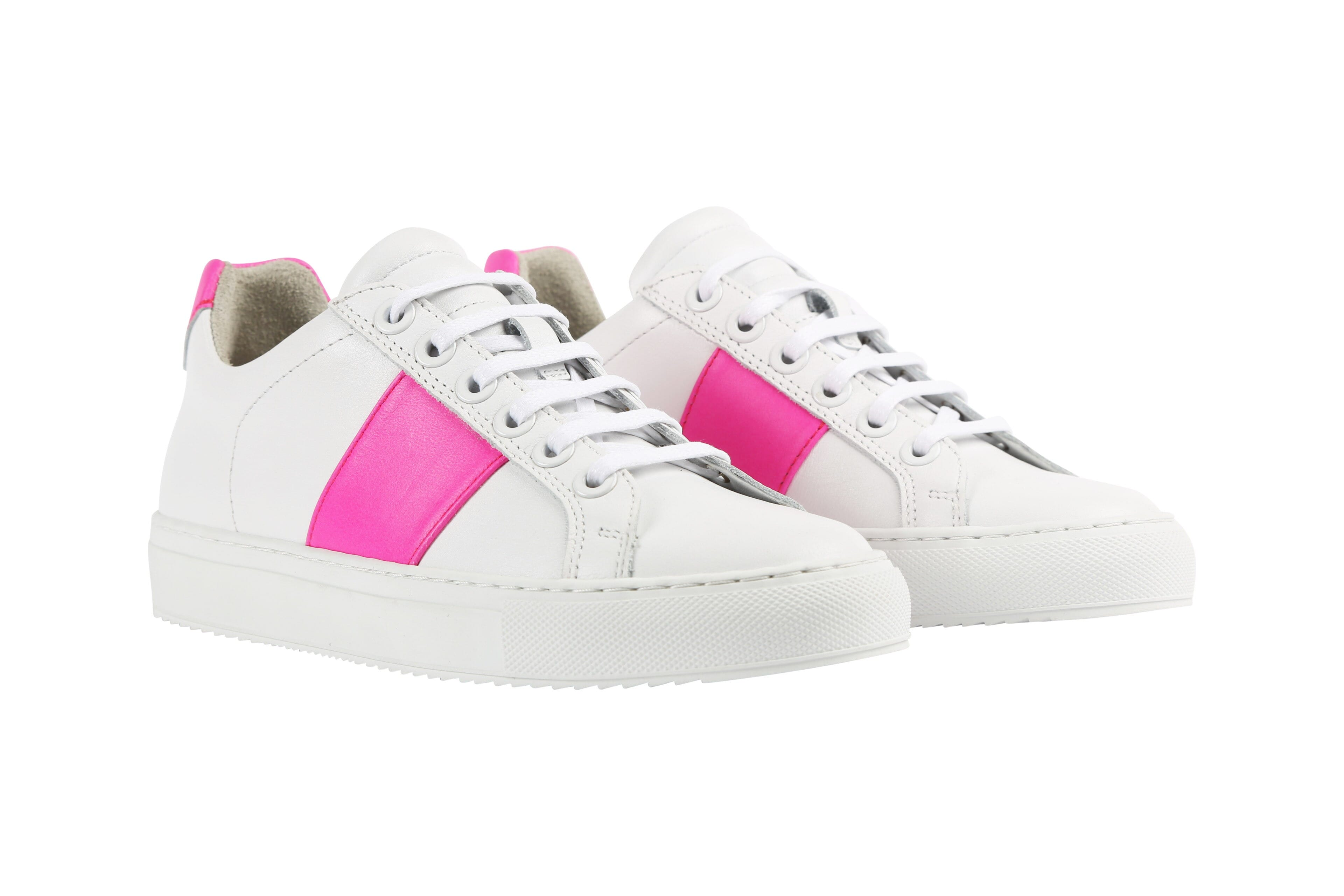 Edition 4 blanche bande rose fluo